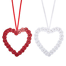 Buy John Lewis Button Heart Decoration, Assorted Online at johnlewis.com