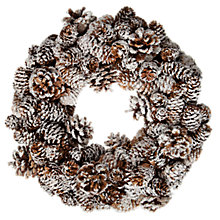 Buy John Lewis Frosted Pinecone Wreath, Natural/White Online at johnlewis.com