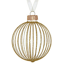 Buy John Lewis Glitter Fine Stripe Glass Bauble, Gold Online at johnlewis.com