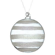 Buy John Lewis Glitter Stripe Glass Bauble, Clear Online at johnlewis.com