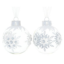Buy John Lewis Jewel Snowflake Glass Bauble, Clear/White, Assorted Online at johnlewis.com