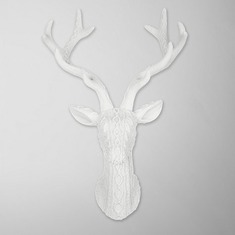 Buy John Lewis Knitted Effect Deer Head, Cream Online at johnlewis.com