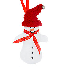 Buy Cambric & Cream Padded Snowman Decoration, White/Red Online at johnlewis.com