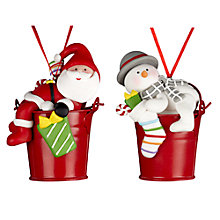 Buy John Lewis Santa/Snowman in Bucket Decoration, Assorted Online at johnlewis.com