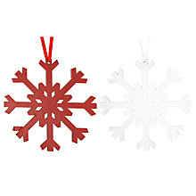 Buy John Lewis Wooden Snowflake Decoration, Assorted Online at johnlewis.com