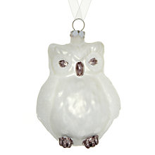 Buy John Lewis Snowy Glass Owl Decoration, White Online at johnlewis.com