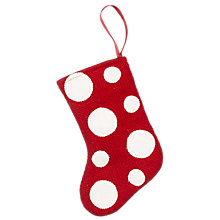 Buy John Lewis Spot Mini Stocking Decoration, Red Online at johnlewis.com