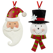 Buy John Lewis Tin Snowman/Santa Tree Decoration, Assorted Online at johnlewis.com
