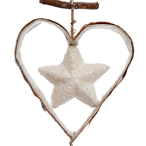 Buy John Lewis Vertical Winterland Heart and Star Garland, Gold/Natural, L1.1m Online at johnlewis.com