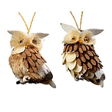 Buy John Lewis Wooden Owl Decoration, Natural, Assorted Online at johnlewis.com
