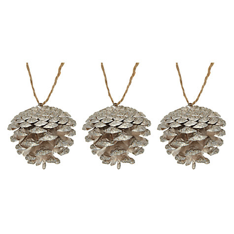 Buy John Lewis Pine Cone Decorations, Gold, x12 Online at johnlewis.com