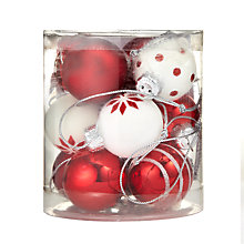Buy John Lewis Mini Holiday Baubles, Red/White, x12 Online at johnlewis.com