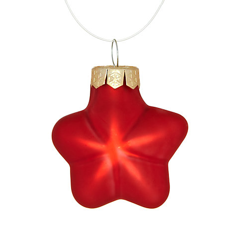 Buy John Lewis Glass Star Decorations, Red, x12 Online at johnlewis.com