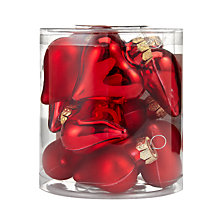 Buy John Lewis Glass Heart Decorations, Red, x12 Online at johnlewis.com