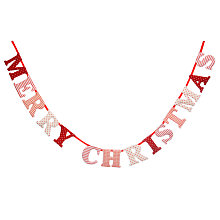 Buy John Lewis 'Merry Christmas' Garland, Red/White, L1.5m Online at johnlewis.com