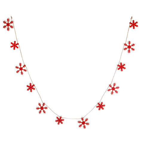 Buy John Lewis Felt Wood Snowflake Garland, Red, L1.8m Online at johnlewis.com