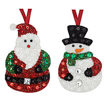 Buy John Lewis Sequin Santa/Snowmen Decoration, Assorted Online at johnlewis.com