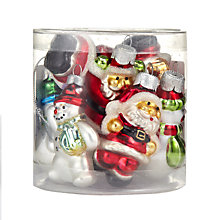 Buy John Lewis Santa and Snowman Glass Decoration Pack, x8 Online at johnlewis.com
