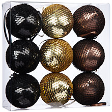 Buy John Lewis Theatre Sequin Bauble Pack, x9 Online at johnlewis.com