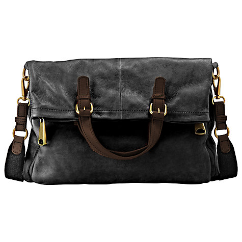 Buy Fossil Explorer Leather Tote Bag, Black Online at johnlewis.com