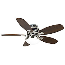 "Buy Omega Ceiling Fan, Nickel/Dark Oak, 44"" Online at johnlewis.com"