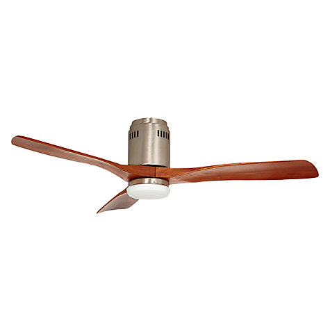 "Buy Zeta Ceiling Fan, Brushed Nickel/Walnut, 52"" Online at johnlewis.com"