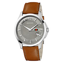 Buy Gucci YA126302 Men's G-Timeless Round Anthracite Dial Leather Strap Watch, Camel Online at johnlewis.com