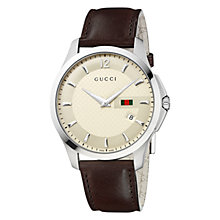 Buy Gucci YA126303 Men's G-timeless Round Ivy Cream Dial Leather Strap Watch, Dark Brown Online at johnlewis.com