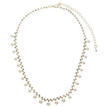 Buy John Lewis Fine Diamanté and Pearl Drop Choker Necklace, White Online at johnlewis.com