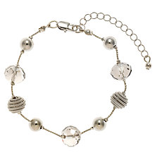 Buy John Lewis Coil and Acrylic Facet Glass Bead Bracelet, Silver Online at johnlewis.com