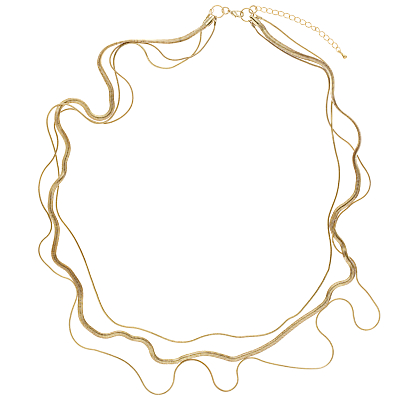 John Lewis 3-Row Layered Long Necklace, Gold