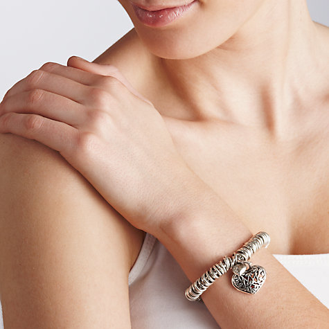 Buy John Lewis Heart Charm Elasticated Bracelet, Silver Online at johnlewis.com