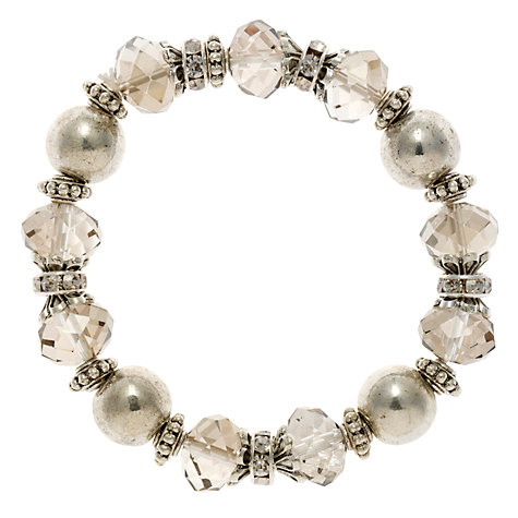 Buy John Lewis Imitation Pearl Stretch Bracelet, Grey Online at johnlewis.com