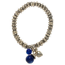 Buy John Lewis Silver Bead Stretch Charm Bracelet, Blue Online at johnlewis.com