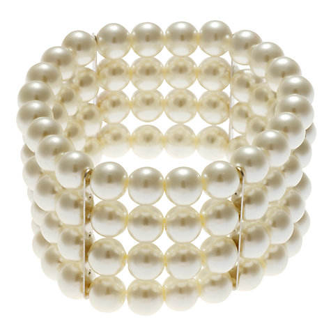 Buy John Lewis 4 Row Pearl Stretch Bracelet, White Online at johnlewis.com