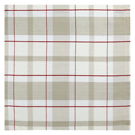 Buy John Lewis Check Napkins, Pack of 4, Natural Online at johnlewis.com