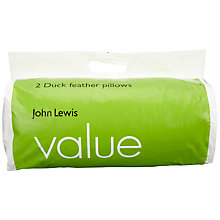 Buy John Lewis Value Duck Feather Standard Pillows, Pair Online at johnlewis.com