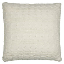 Buy John Lewis Faux Shearling Knit Cushion, Cream Online at johnlewis.com