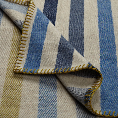 Buy Melin Tregwynt Stripe Throw, Blue/Mustard Online at johnlewis.com