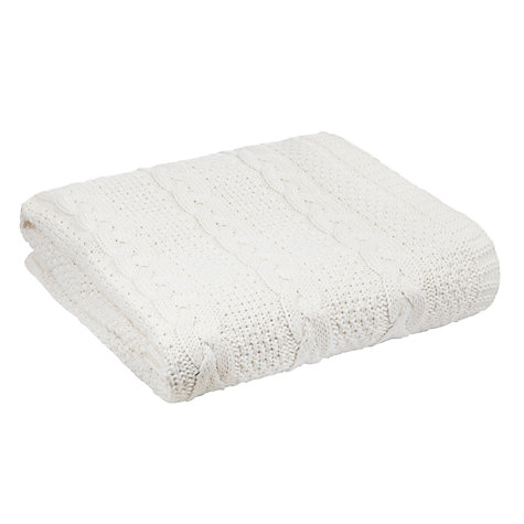 Buy John Lewis Baby Heavy Cable Knit Blanket, Cream Online at johnlewis.com