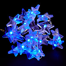 Buy John Lewis Indoor Battery Operated LED Fine Wire Star Christmas Line Lights, x20, Blue Online at johnlewis.com
