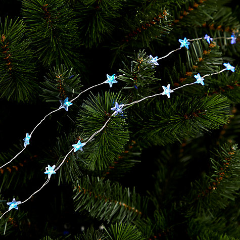 Buy John Lewis Indoor Battery Operated LED Fine Wire Star Line Lights, x20, Blue Online at johnlewis.com