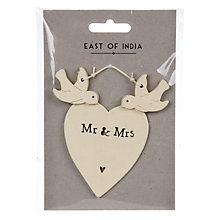 Buy East of India Mr And Mrs Dove Decorative Heart Online at johnlewis.com