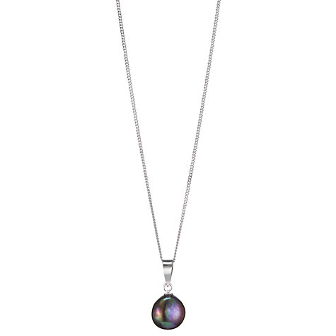 Buy A B Davis Cultured River Pearl Black Baroque Sterling Sliver Pendant Necklace Online at johnlewis.com