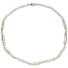 Buy A B Davis Cultured River Pearl White Stick Necklace Online at johnlewis.com
