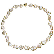 Buy A B Davis Cultured River White Baroque Pearl Necklace Online at johnlewis.com