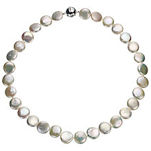 Buy A B Davis Cultured River White Pearl Coin Necklace Online at johnlewis.com