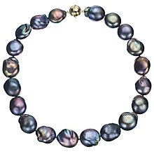 Buy A B Davis Large Cultured River Black Baroque Pearl Necklace Online at johnlewis.com