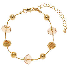 Buy John Lewis Coil and Acrylic Facet Glass Bead Bracelet, Gold Online at johnlewis.com