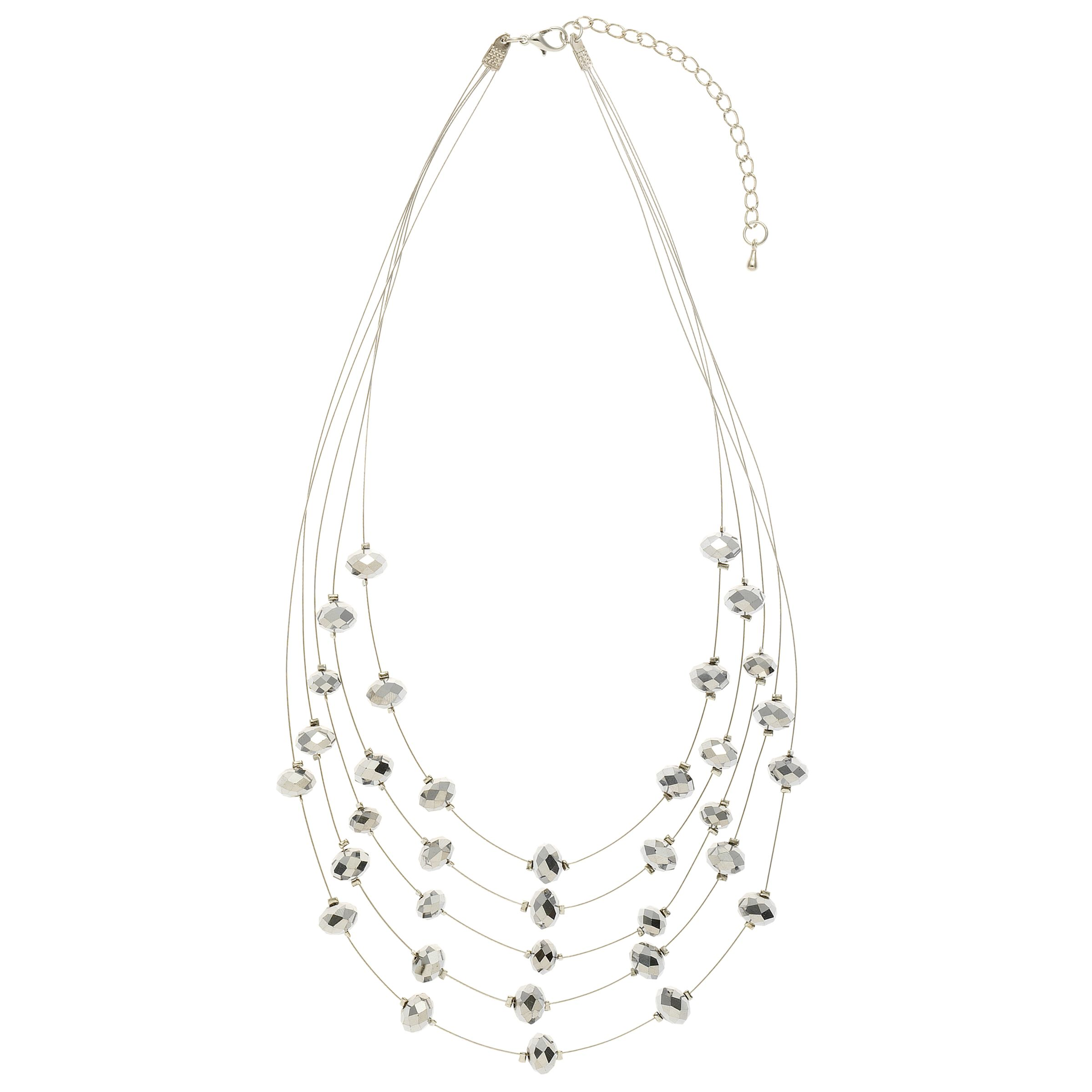 John Lewis Facet Bead Illusion Multi Chain Necklace, Silver